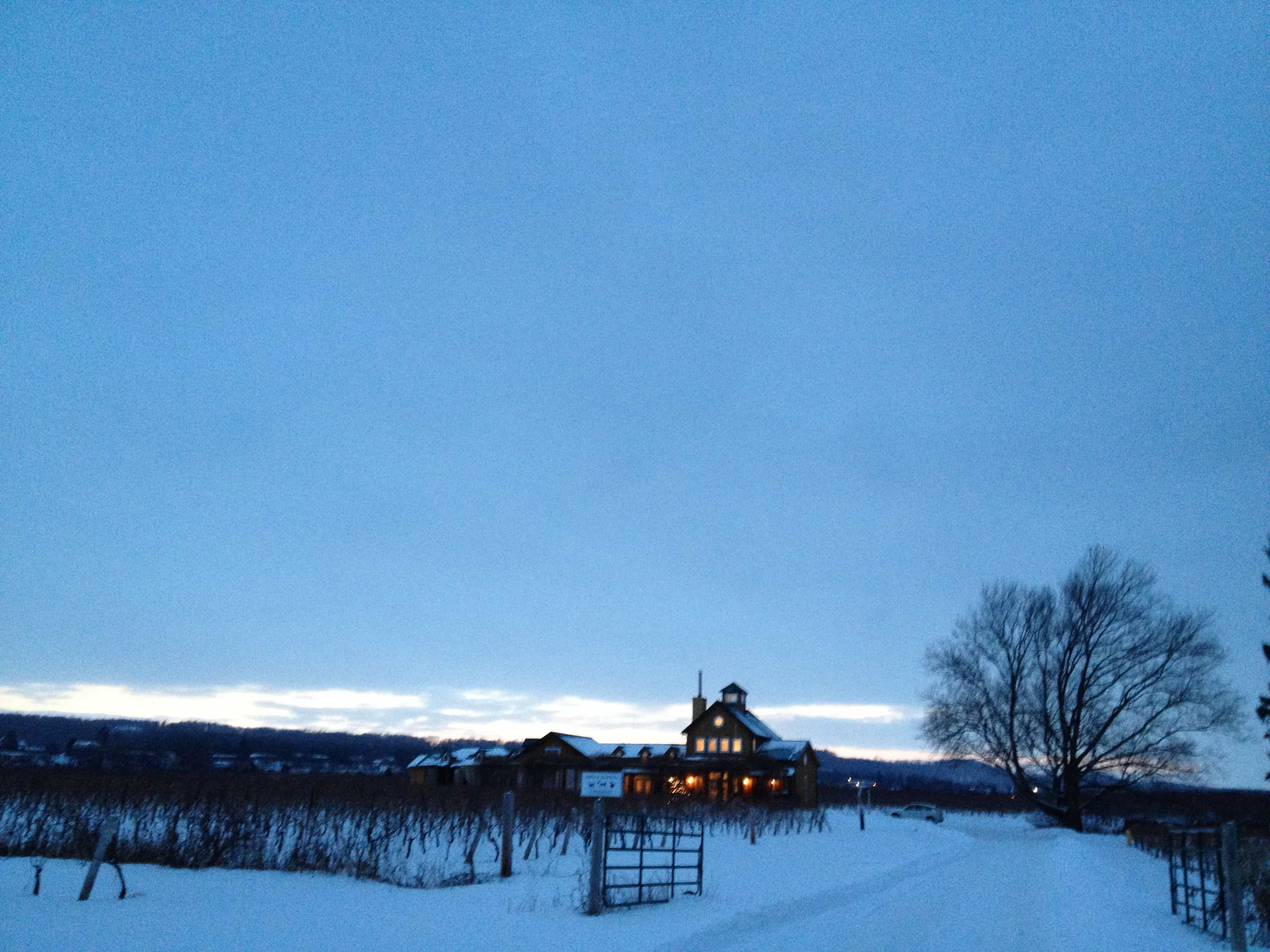 The Good Earth glows in the snowy, New Year's Eve twilight.