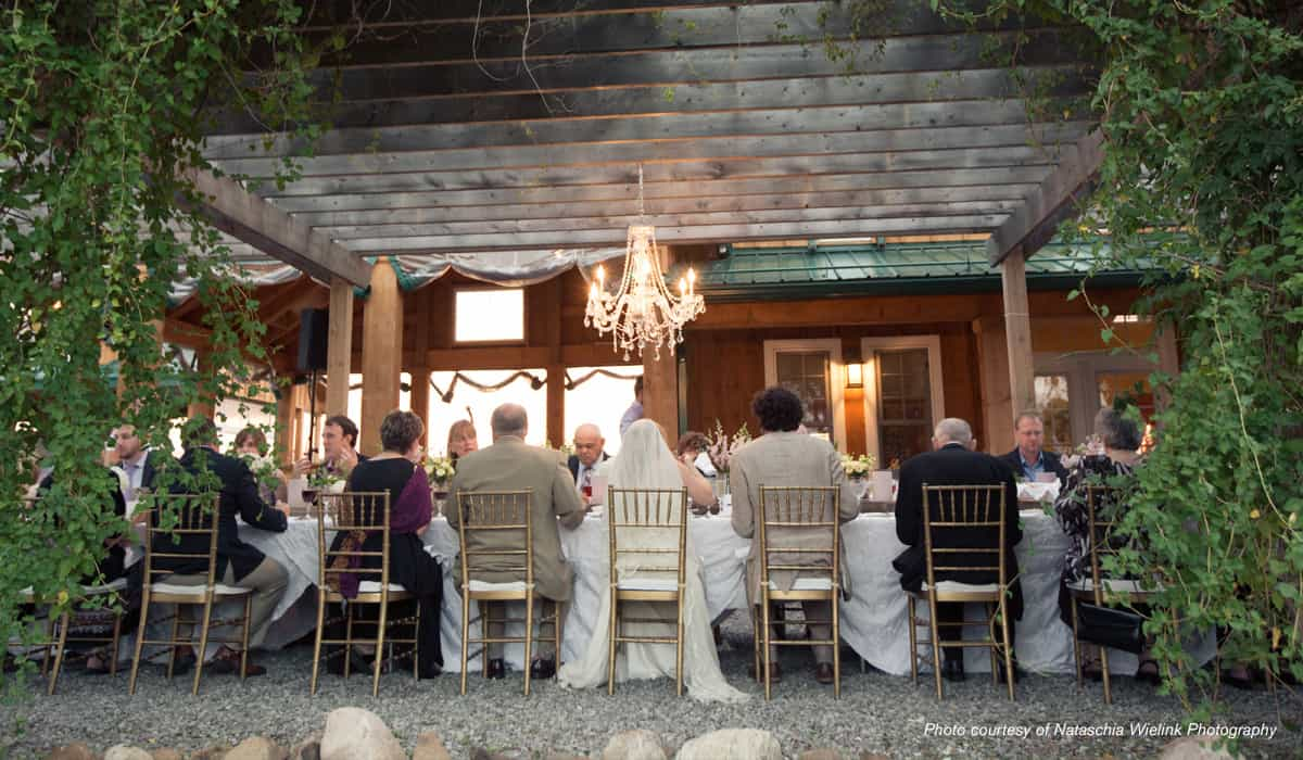 Bridal party under the pergola at The Good Earth